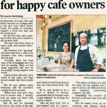 Year's cooking on gas for happy cafe owners
